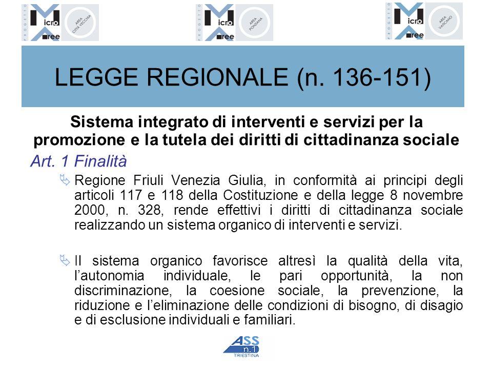 LEGGE REGIONALE (n. 136-151) Sistema integrato di interventi e servizi per la promozione e la tutela dei diritti di cittadinanza sociale Art. 1 Finali