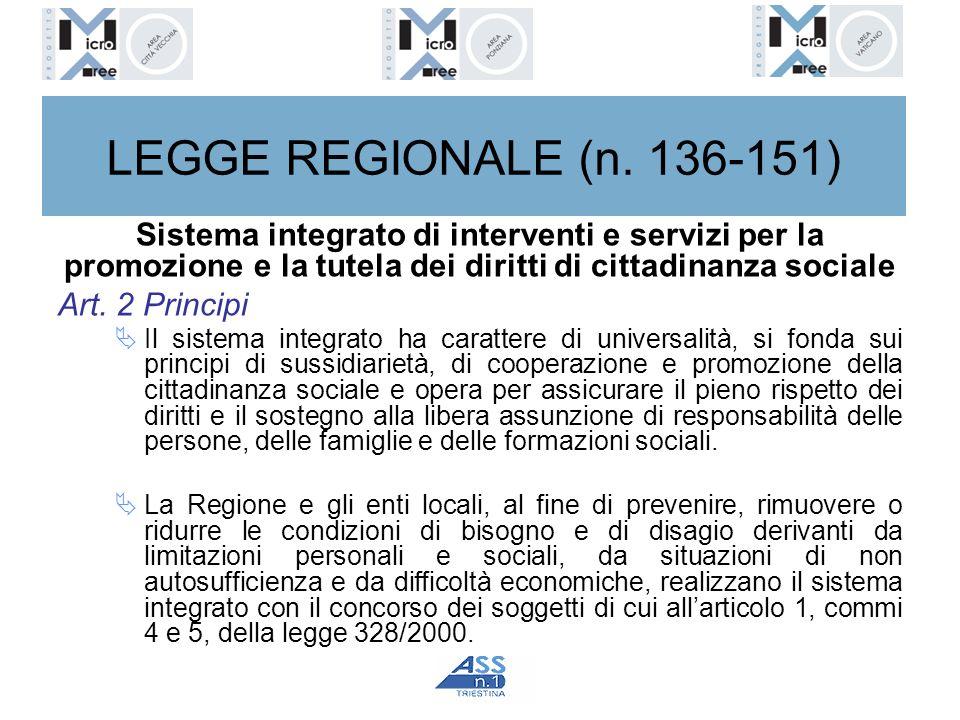 LEGGE REGIONALE (n. 136-151) Sistema integrato di interventi e servizi per la promozione e la tutela dei diritti di cittadinanza sociale Art. 2 Princi