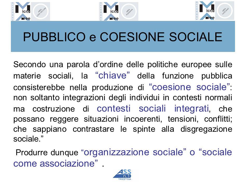 PUBBLICO e COESIONE SOCIALE Secondo una parola dordine delle politiche europee sulle materie sociali, la chiave della funzione pubblica consisterebbe