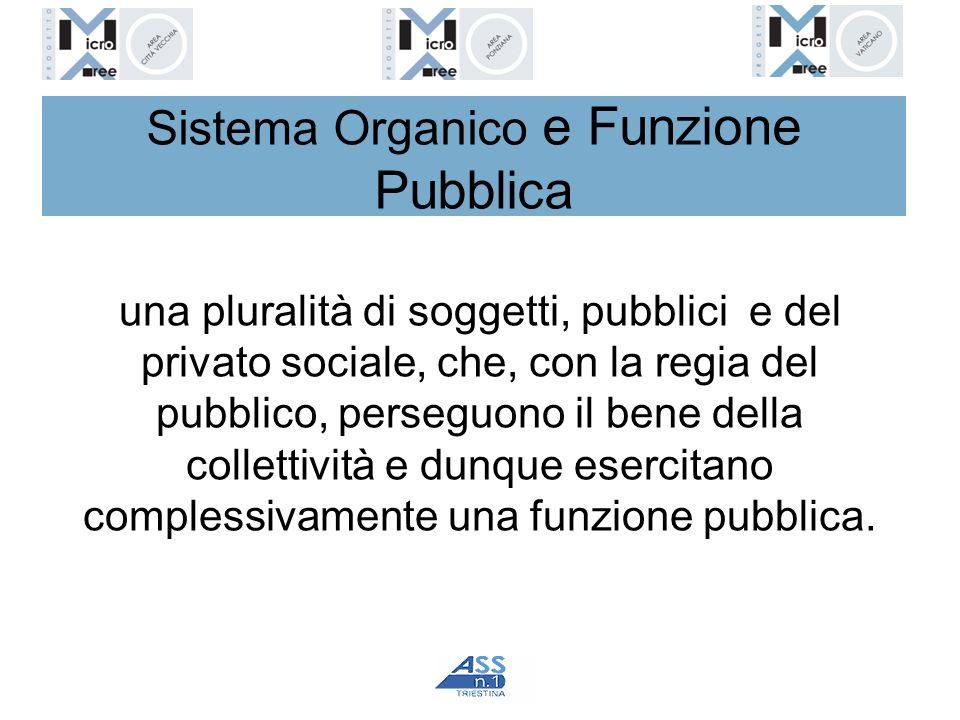 Sistema Organico e Funzione Pubblica una pluralità di soggetti, pubblici e del privato sociale, che, con la regia del pubblico, perseguono il bene del
