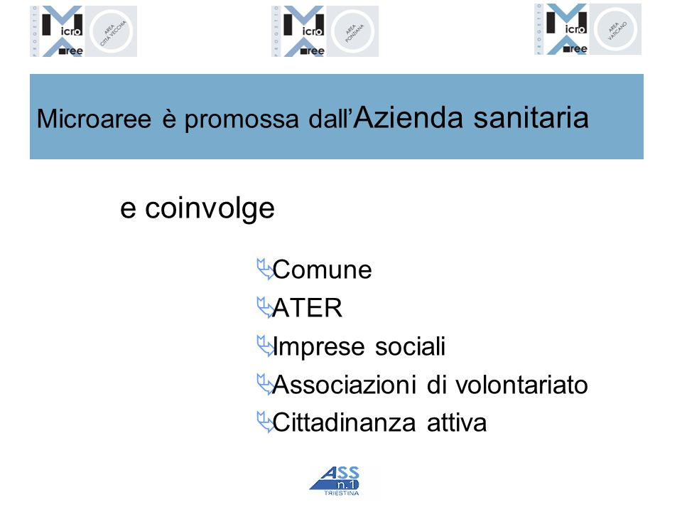 Microaree è promossa dall Azienda sanitaria e coinvolge Comune ATER Imprese sociali Associazioni di volontariato Cittadinanza attiva