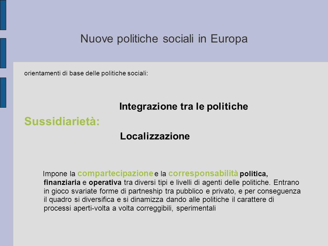 Nuove politiche sociali in Europa orientamenti di base delle politiche sociali: Integrazione tra le politiche Sussidiarietà: Localizzazione Impone la