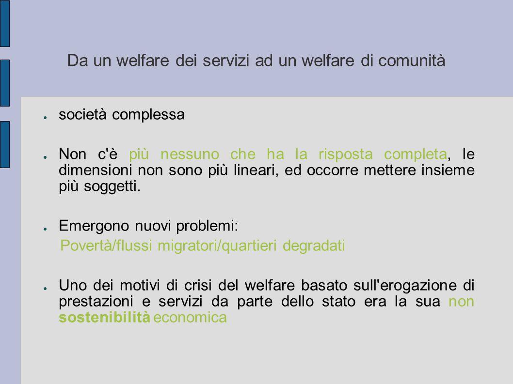 Da un welfare dei servizi ad un welfare di comunità società complessa Non c'è più nessuno che ha la risposta completa, le dimensioni non sono più line