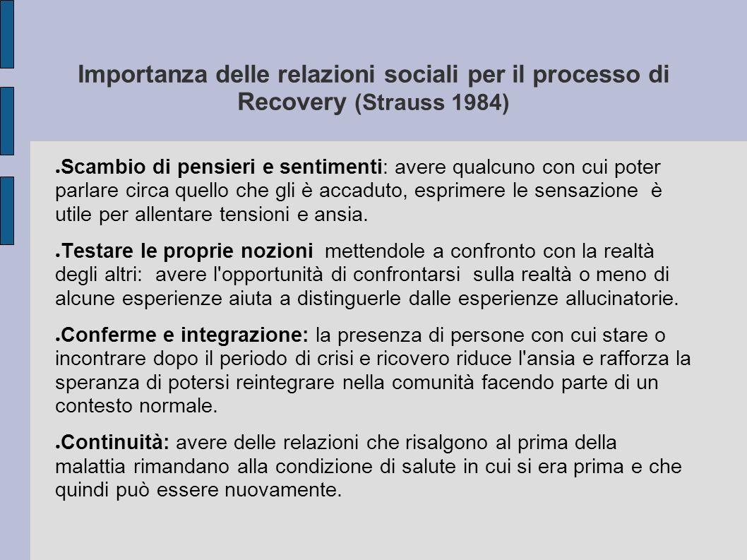 Importanza delle relazioni sociali per il processo di Recovery (Strauss 1984) Scambio di pensieri e sentimenti: avere qualcuno con cui poter parlare c