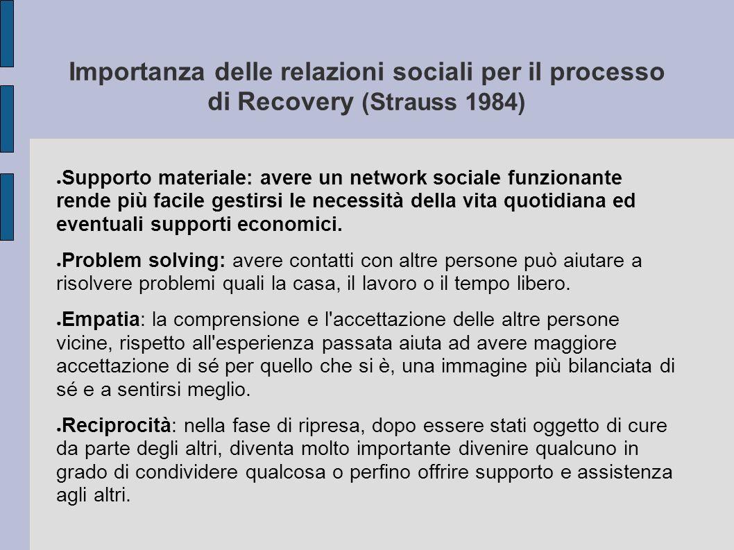 Importanza delle relazioni sociali per il processo di Recovery (Strauss 1984) Supporto materiale: avere un network sociale funzionante rende più facil