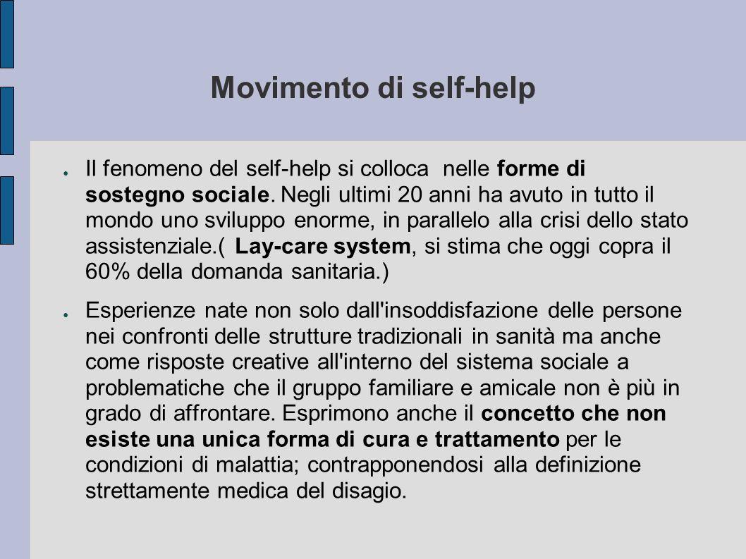 Movimento di self-help Il fenomeno del self-help si colloca nelle forme di sostegno sociale. Negli ultimi 20 anni ha avuto in tutto il mondo uno svilu