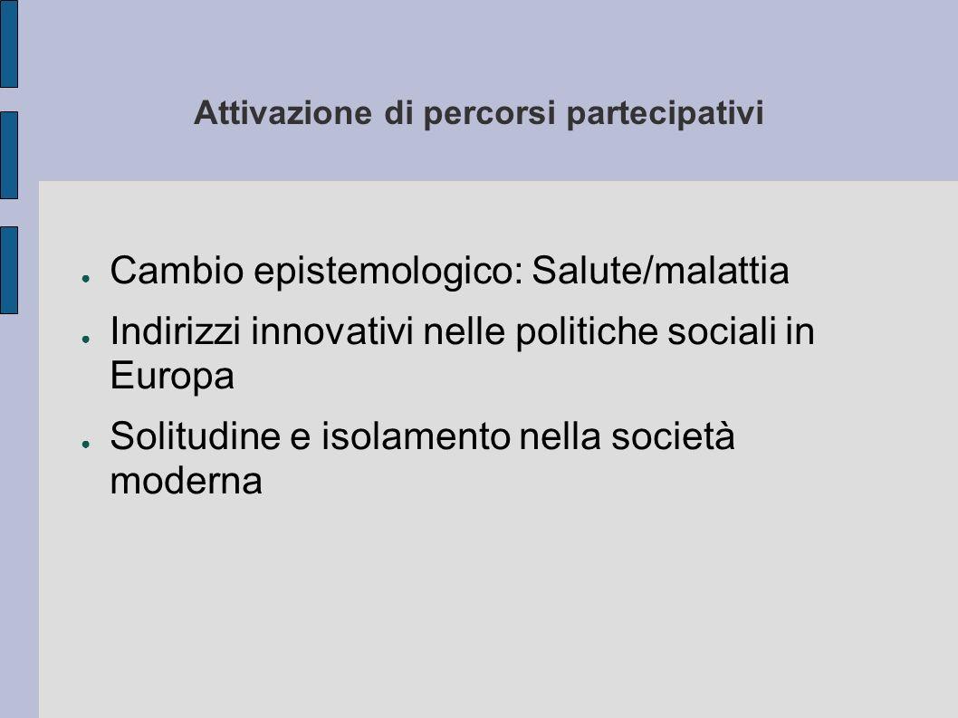 Attivazione di percorsi partecipativi Cambio epistemologico: Salute/malattia Indirizzi innovativi nelle politiche sociali in Europa Solitudine e isola