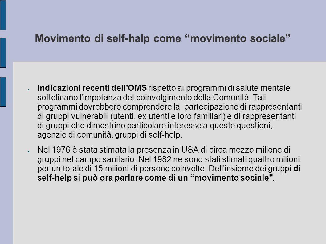 Movimento di self-halp come movimento sociale Indicazioni recenti dell'OMS rispetto ai programmi di salute mentale sottolinano l'impotanza del coinvol