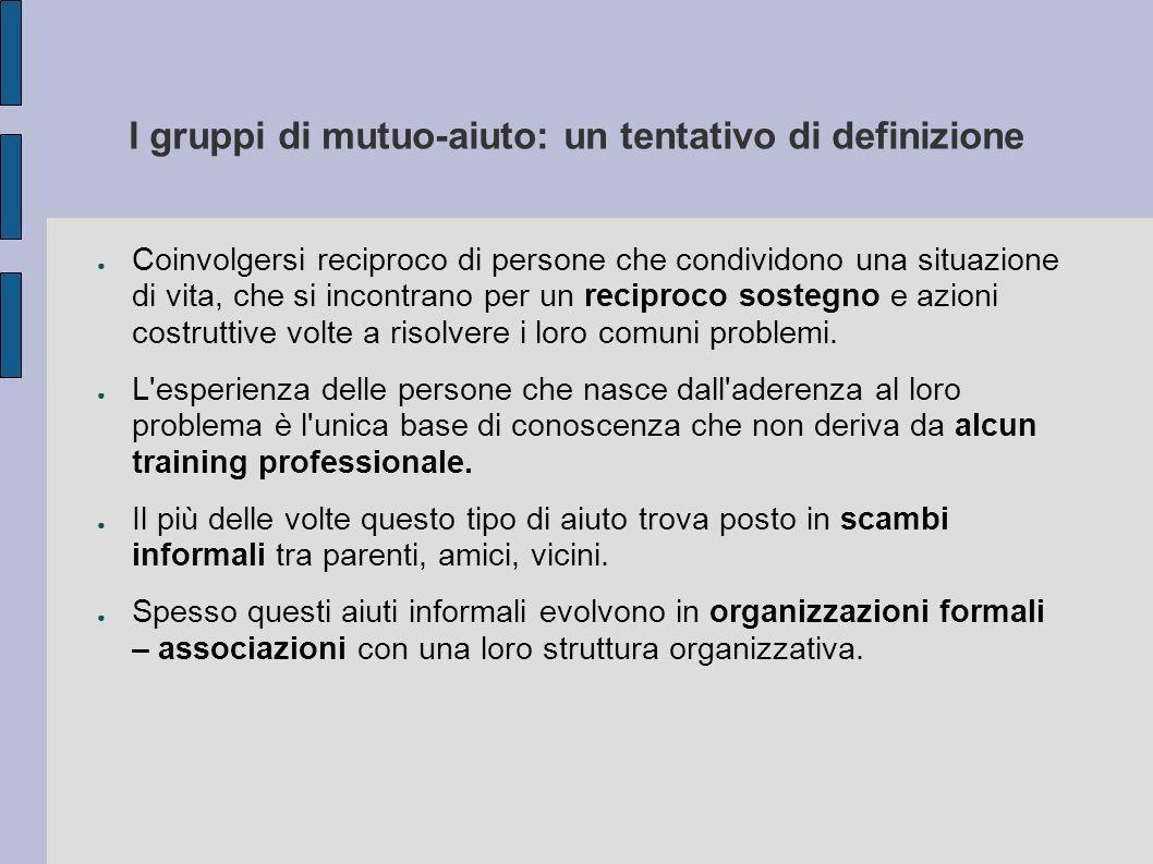 I gruppi di mutuo-aiuto: un tentativo di definizione Coinvolgersi reciproco di persone che condividono una situazione di vita, che si incontrano per u