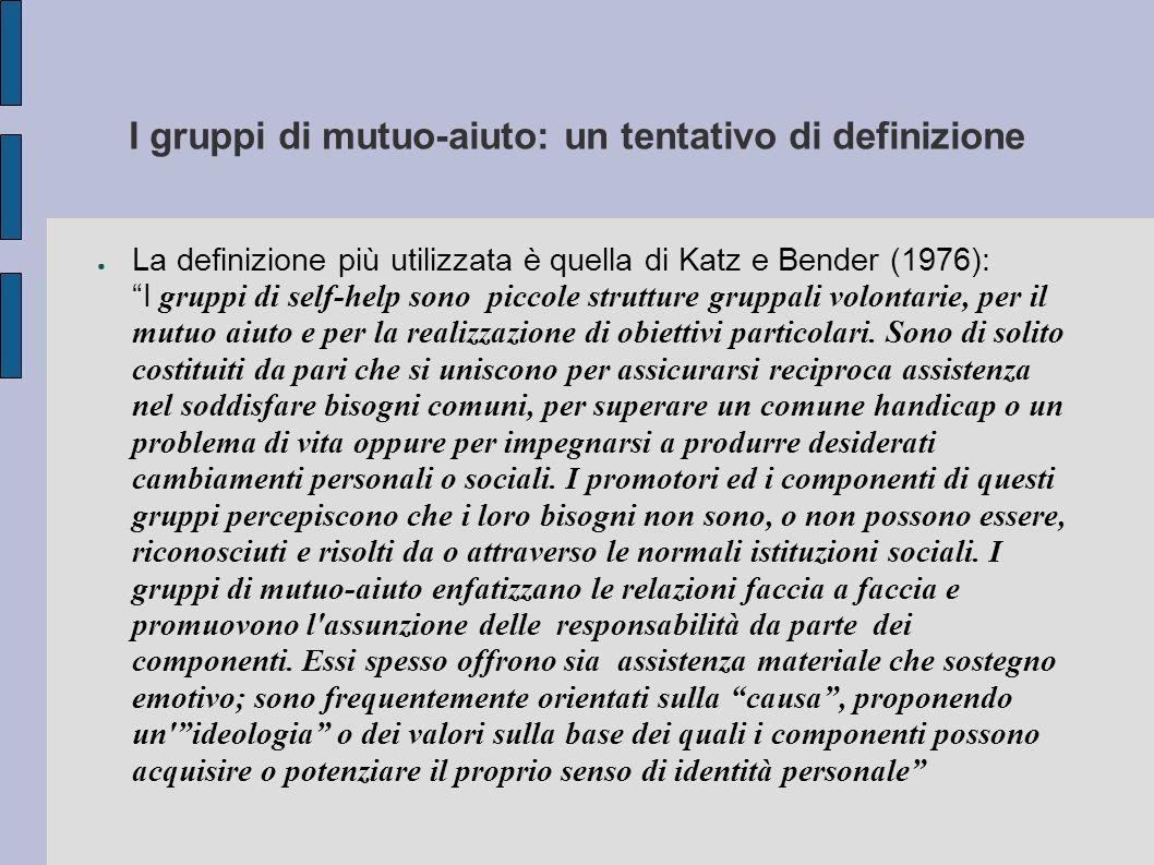 I gruppi di mutuo-aiuto: un tentativo di definizione La definizione più utilizzata è quella di Katz e Bender (1976): I gruppi di self-help sono piccol
