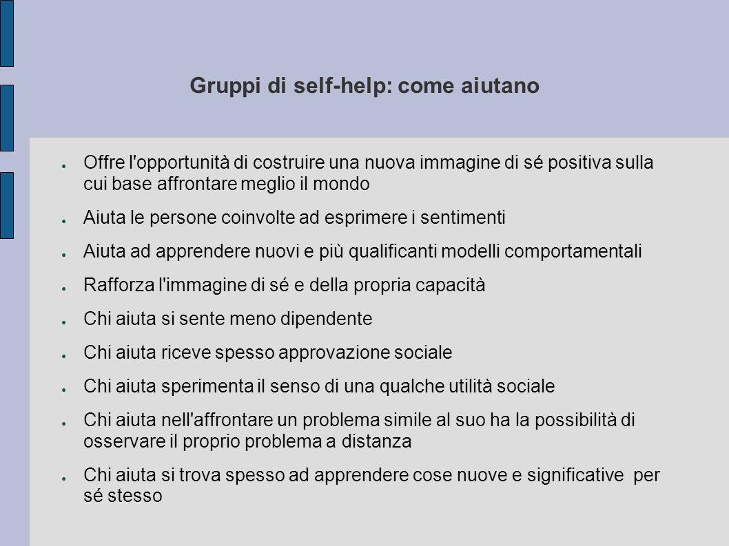 Gruppi di self-help: come aiutano Offre l'opportunità di costruire una nuova immagine di sé positiva sulla cui base affrontare meglio il mondo Aiuta l