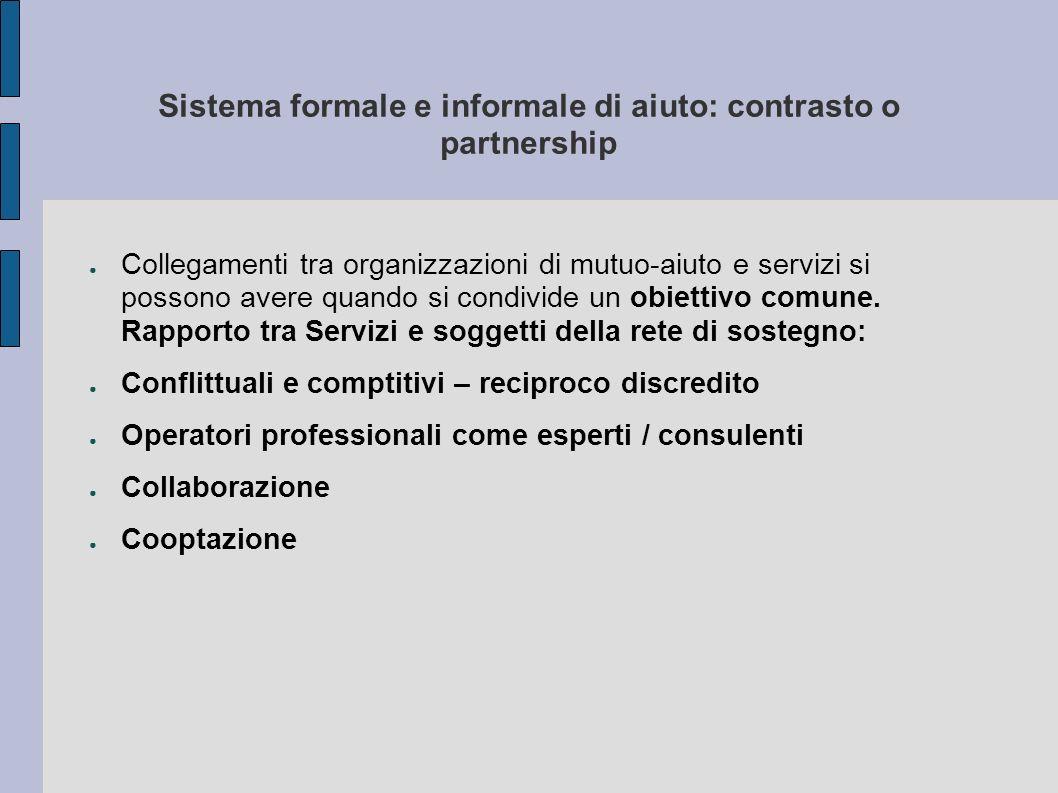 Sistema formale e informale di aiuto: contrasto o partnership Collegamenti tra organizzazioni di mutuo-aiuto e servizi si possono avere quando si cond