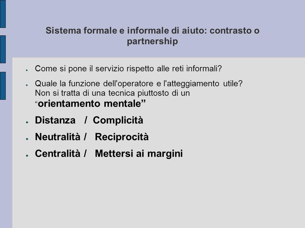 Sistema formale e informale di aiuto: contrasto o partnership Come si pone il servizio rispetto alle reti informali? Quale la funzione dell'operatore
