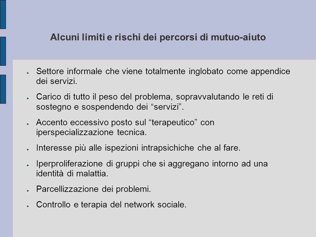Alcuni limiti e rischi dei percorsi di mutuo-aiuto Settore informale che viene totalmente inglobato come appendice dei servizi. Carico di tutto il pes
