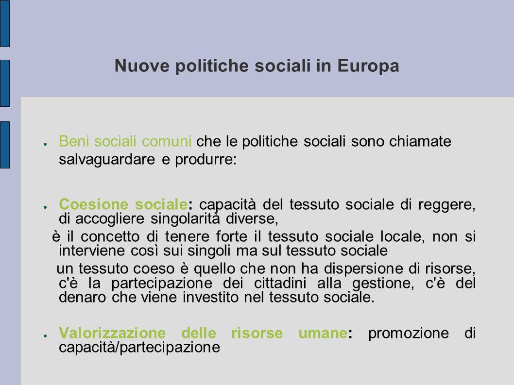 Nuove politiche sociali in Europa Beni sociali comuni che le politiche sociali sono chiamate salvaguardare e produrre: Coesione sociale: capacità del