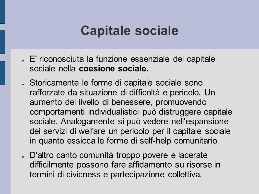 Capitale sociale E' riconosciuta la funzione essenziale del capitale sociale nella coesione sociale. Storicamente le forme di capitale sociale sono ra