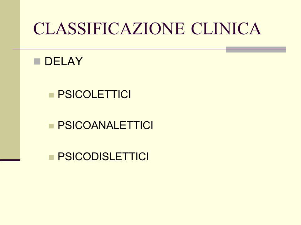 CLASSIFICAZIONE CLINICA DELAY PSICOLETTICI PSICOANALETTICI PSICODISLETTICI