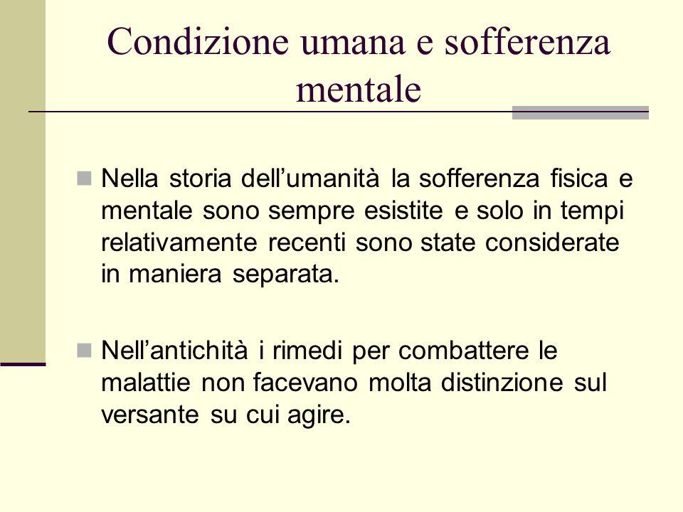Condizione umana e sofferenza mentale Nella storia dellumanità la sofferenza fisica e mentale sono sempre esistite e solo in tempi relativamente recen