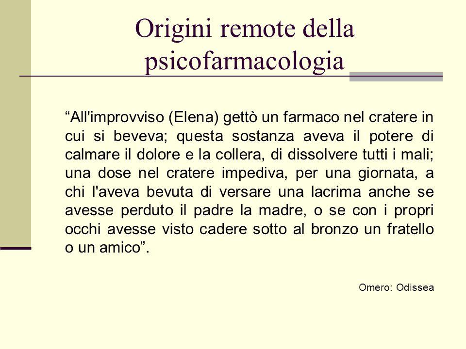 Origini remote della psicofarmacologia All'improvviso (Elena) gettò un farmaco nel cratere in cui si beveva; questa sostanza aveva il potere di calmar