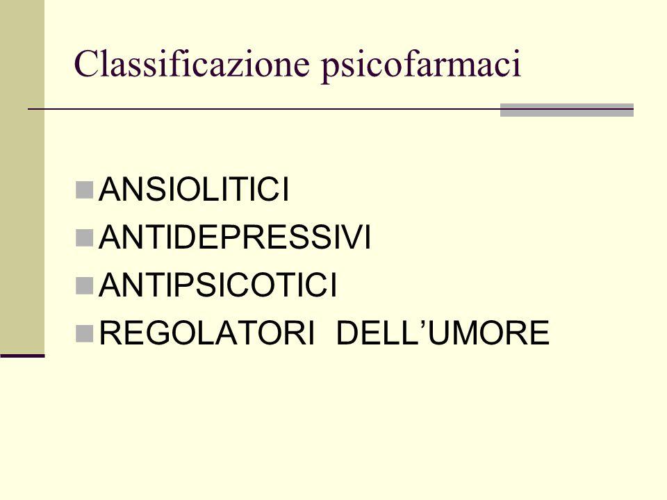Classificazione psicofarmaci ANSIOLITICI ANTIDEPRESSIVI ANTIPSICOTICI REGOLATORI DELLUMORE