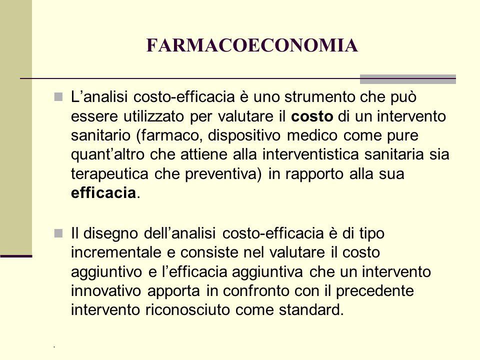 FARMACOECONOMIA Lanalisi costo-efficacia è uno strumento che può essere utilizzato per valutare il costo di un intervento sanitario (farmaco, disposit