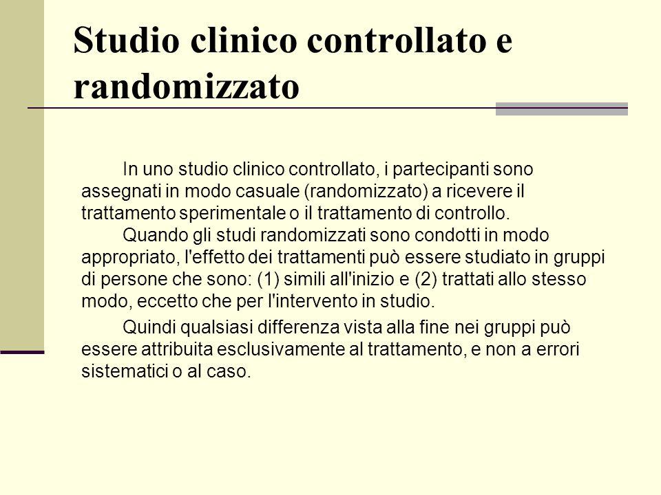 Studio clinico controllato e randomizzato In uno studio clinico controllato, i partecipanti sono assegnati in modo casuale (randomizzato) a ricevere i
