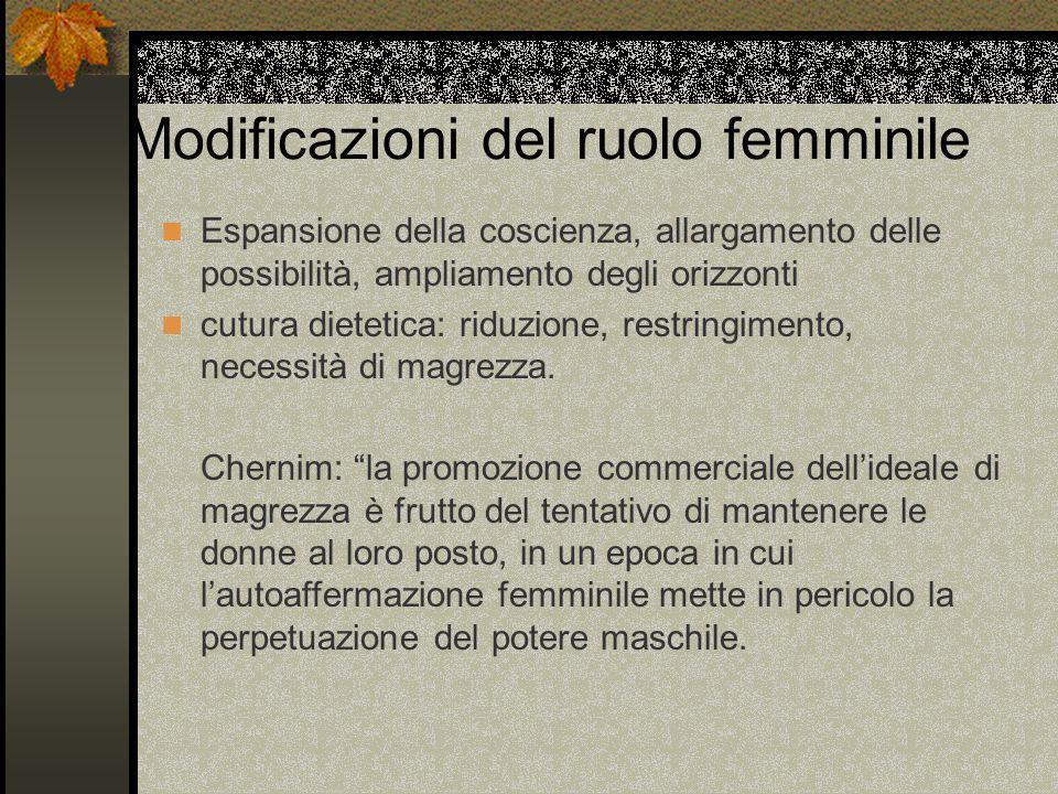 Modificazioni del ruolo femminile Espansione della coscienza, allargamento delle possibilità, ampliamento degli orizzonti cutura dietetica: riduzione,