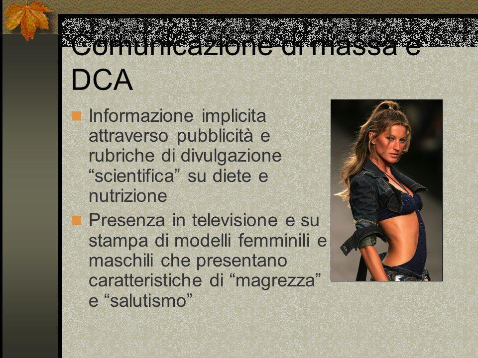 Comunicazione di massa e DCA Informazione implicita attraverso pubblicità e rubriche di divulgazione scientifica su diete e nutrizione Presenza in tel