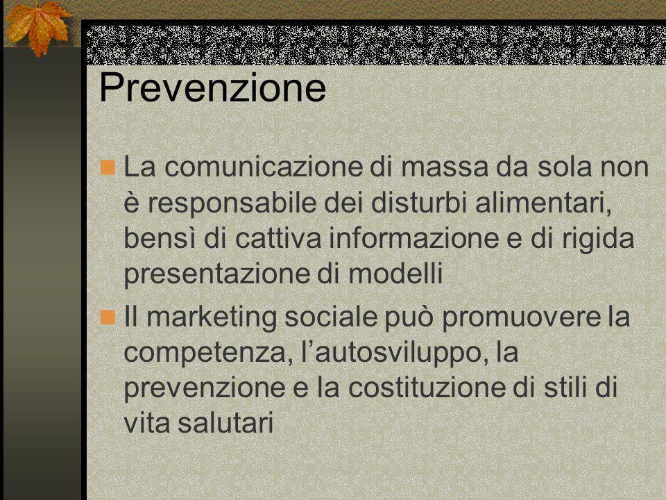 Prevenzione La comunicazione di massa da sola non è responsabile dei disturbi alimentari, bensì di cattiva informazione e di rigida presentazione di m