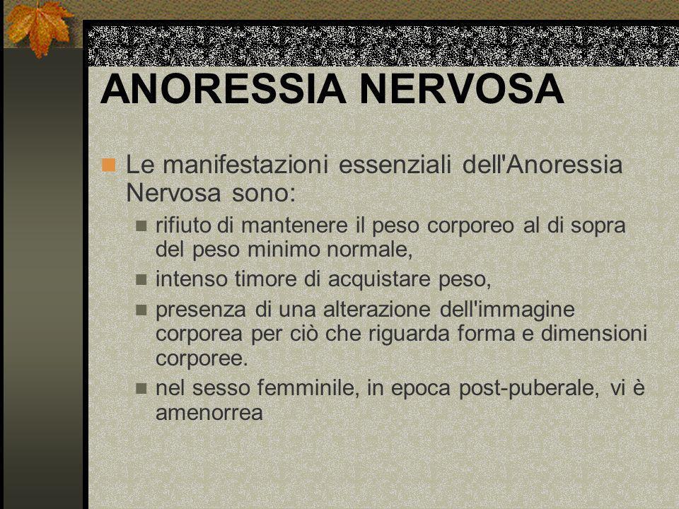 ANORESSIA NERVOSA Le manifestazioni essenziali dell'Anoressia Nervosa sono: rifiuto di mantenere il peso corporeo al di sopra del peso minimo normale,
