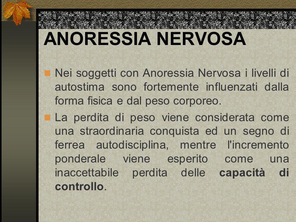 ANORESSIA NERVOSA Nei soggetti con Anoressia Nervosa i livelli di autostima sono fortemente influenzati dalla forma fisica e dal peso corporeo. La per