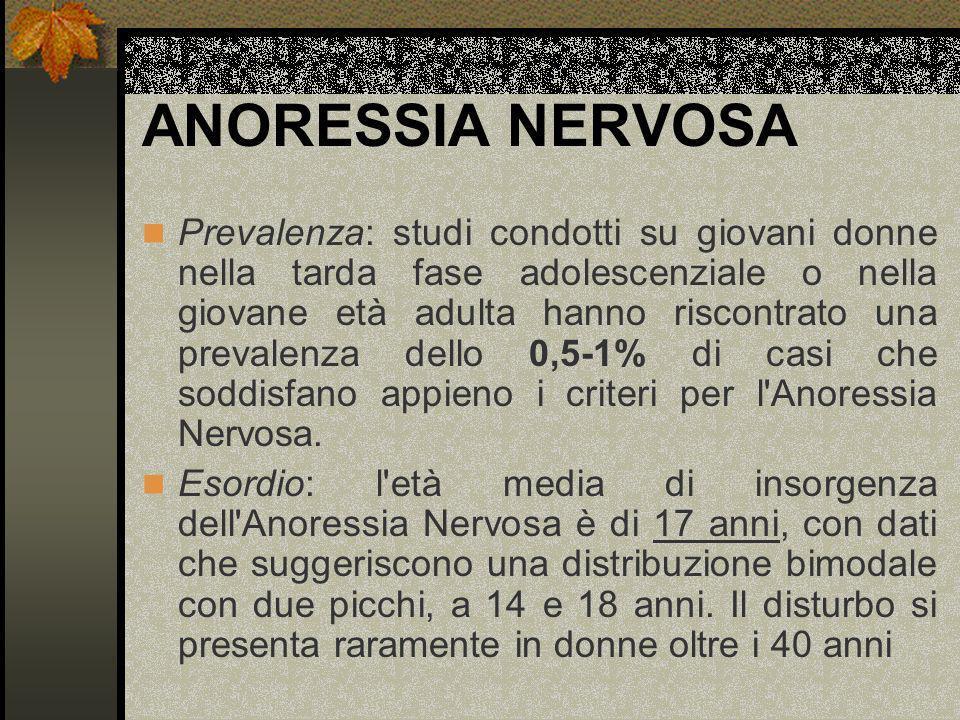 ANORESSIA NERVOSA Prevalenza: studi condotti su giovani donne nella tarda fase adolescenziale o nella giovane età adulta hanno riscontrato una prevale