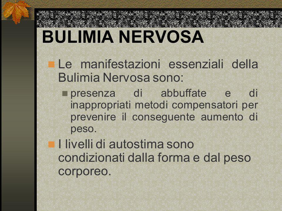 BULIMIA NERVOSA Le manifestazioni essenziali della Bulimia Nervosa sono: presenza di abbuffate e di inappropriati metodi compensatori per prevenire il