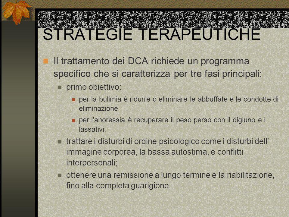 STRATEGIE TERAPEUTICHE Il trattamento dei DCA richiede un programma specifico che si caratterizza per tre fasi principali: primo obiettivo: per la bul