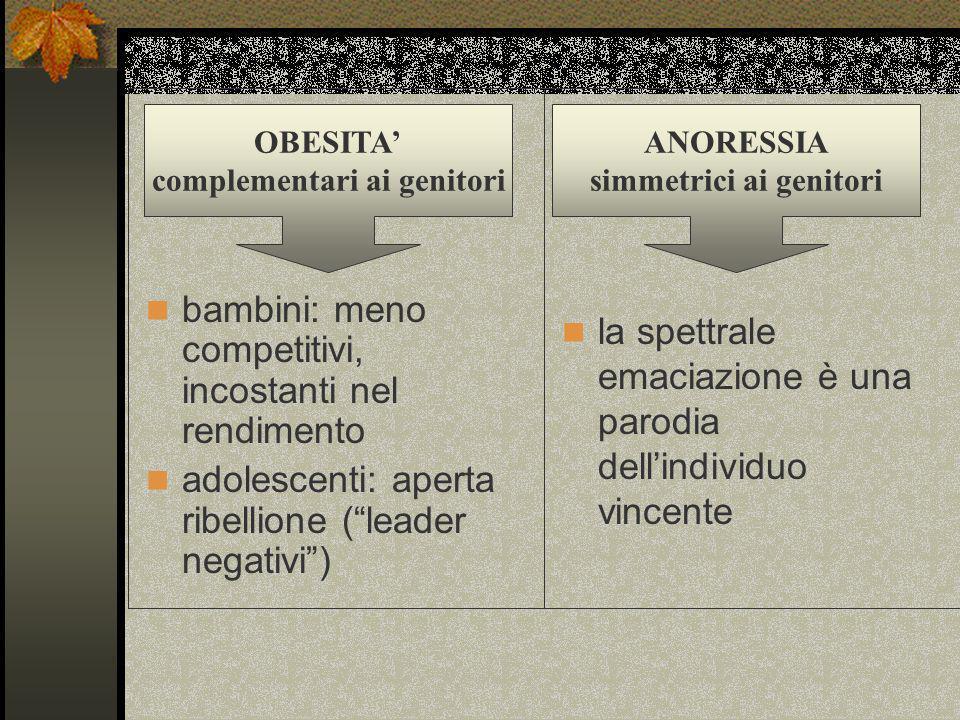 bambini: meno competitivi, incostanti nel rendimento adolescenti: aperta ribellione (leader negativi) OBESITA complementari ai genitori la spettrale e