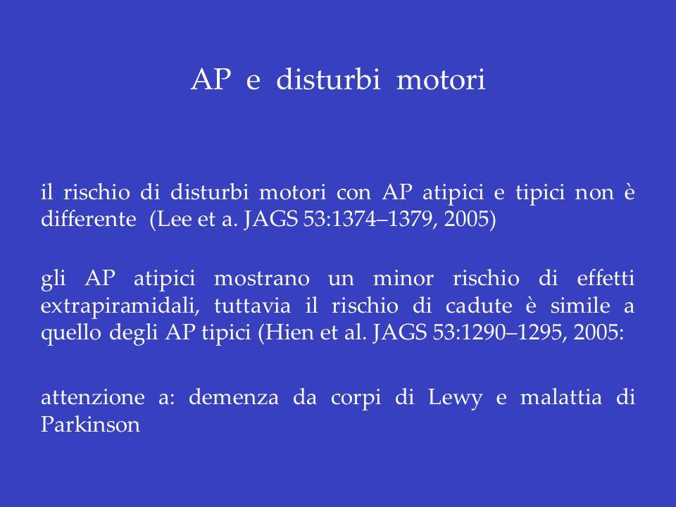 AP e disturbi motori il rischio di disturbi motori con AP atipici e tipici non è differente (Lee et a. JAGS 53:1374–1379, 2005) gli AP atipici mostran