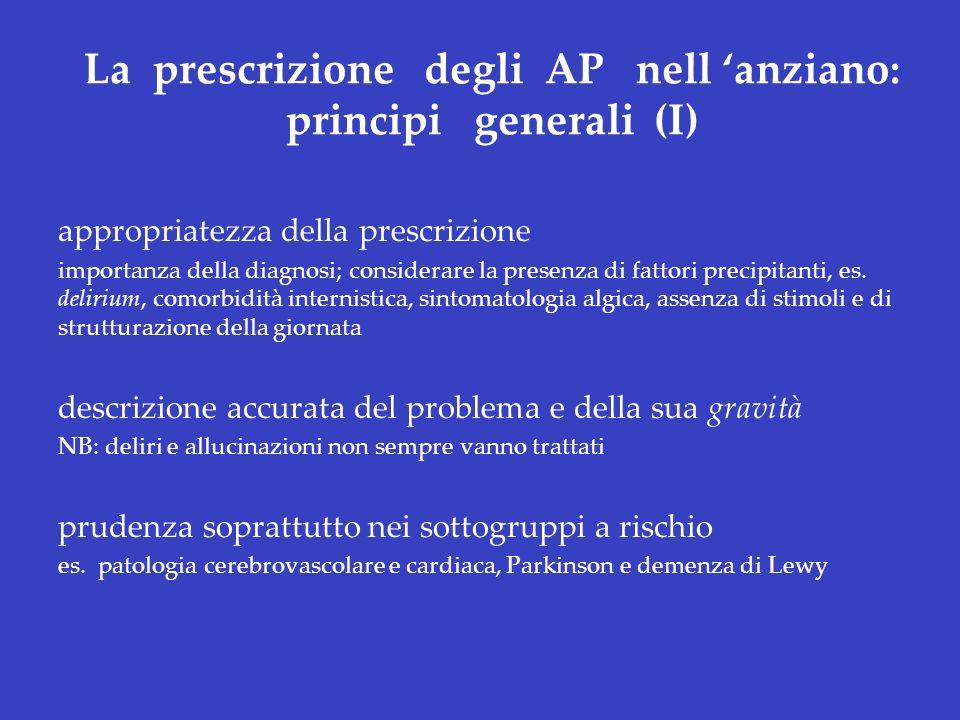 La prescrizione degli AP nell anziano: principi generali (I) appropriatezza della prescrizione importanza della diagnosi; considerare la presenza di f