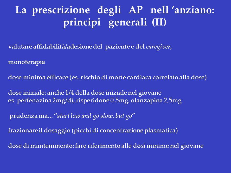 La prescrizione degli AP nell anziano: principi generali (II) valutare affidabilità/adesione del paziente e del caregiver, monoterapia dose minima eff