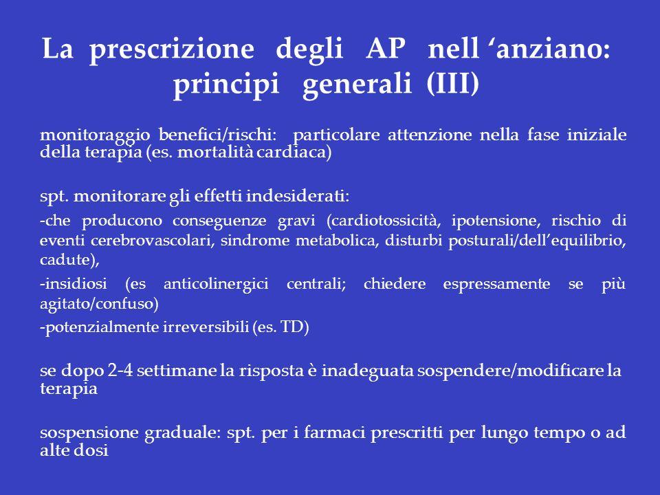La prescrizione degli AP nell anziano: principi generali (III) monitoraggio benefici/rischi: particolare attenzione nella fase iniziale della terapia