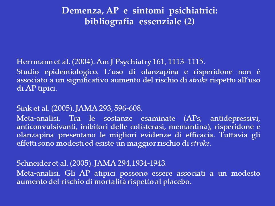 Demenza, AP e sintomi psichiatrici: bibliografia essenziale (2) Herrmann et al. (2004). Am J Psychiatry 161, 1113–1115. Studio epidemiologico. Luso di