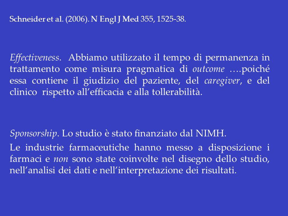 Schneider et al. (2006). N Engl J Med 355, 1525-38. Effectiveness. Abbiamo utilizzato il tempo di permanenza in trattamento come misura pragmatica di