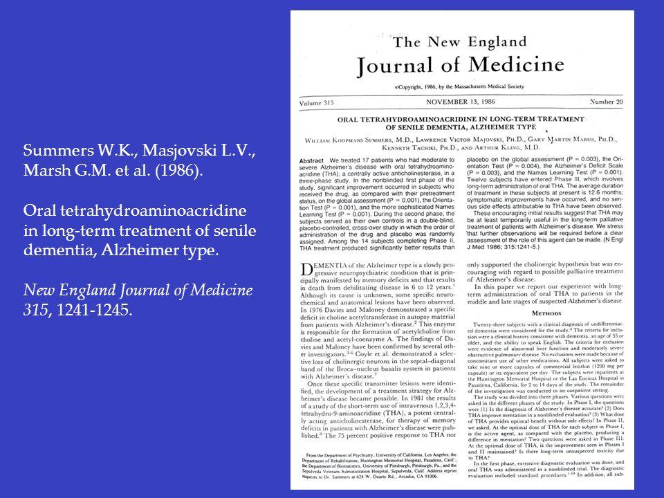 Summers W.K., Masjovski L.V., Marsh G.M. et al. (1986). Oral tetrahydroaminoacridine in long-term treatment of senile dementia, Alzheimer type. New En