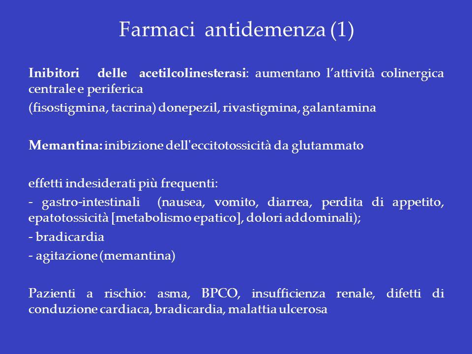 Farmaci antidemenza (1) Inibitori delle acetilcolinesterasi: aumentano lattività colinergica centrale e periferica (fisostigmina, tacrina) donepezil,