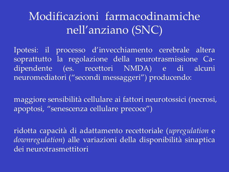 Modificazioni farmacodinamiche nellanziano (SNC) Ipotesi: il processo dinvecchiamento cerebrale altera soprattutto la regolazione della neurotrasmissi