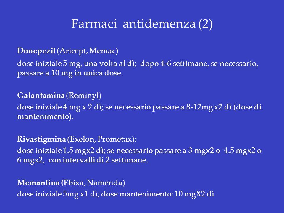 Farmaci antidemenza (2) Donepezil (Aricept, Memac) dose iniziale 5 mg, una volta al dì; dopo 4-6 settimane, se necessario, passare a 10 mg in unica do