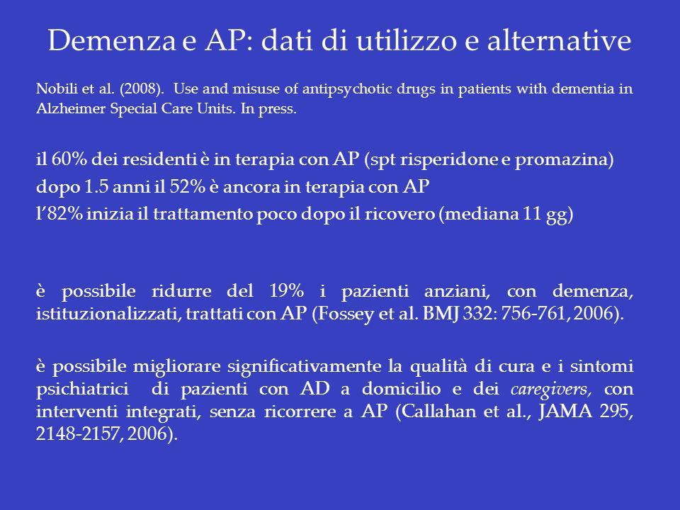 Demenza e AP: dati di utilizzo e alternative Nobili et al. (2008). Use and misuse of antipsychotic drugs in patients with dementia in Alzheimer Specia