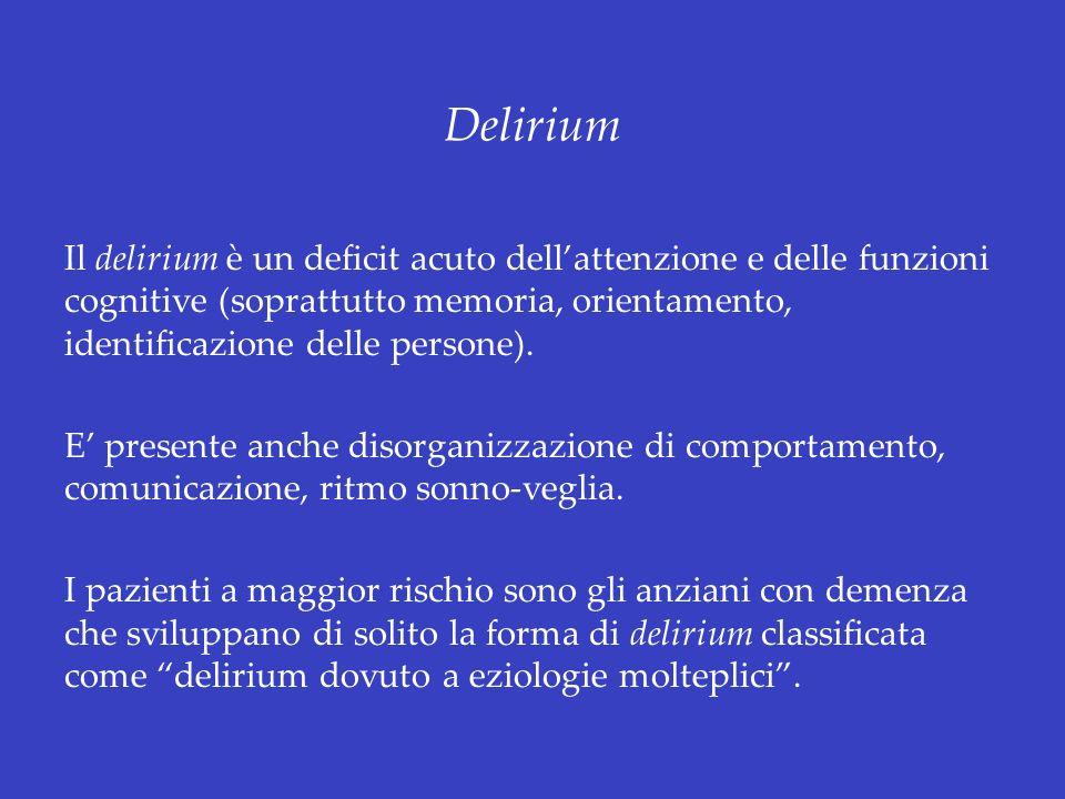 Delirium Il delirium è un deficit acuto dellattenzione e delle funzioni cognitive (soprattutto memoria, orientamento, identificazione delle persone).