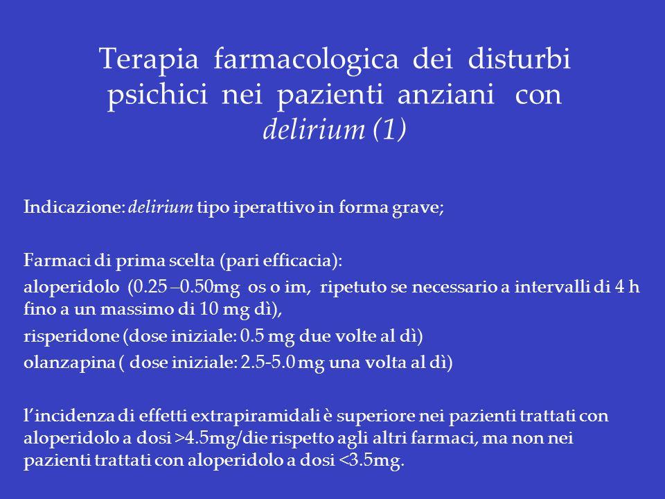 Terapia farmacologica dei disturbi psichici nei pazienti anziani con delirium (1) Indicazione: delirium tipo iperattivo in forma grave; Farmaci di pri