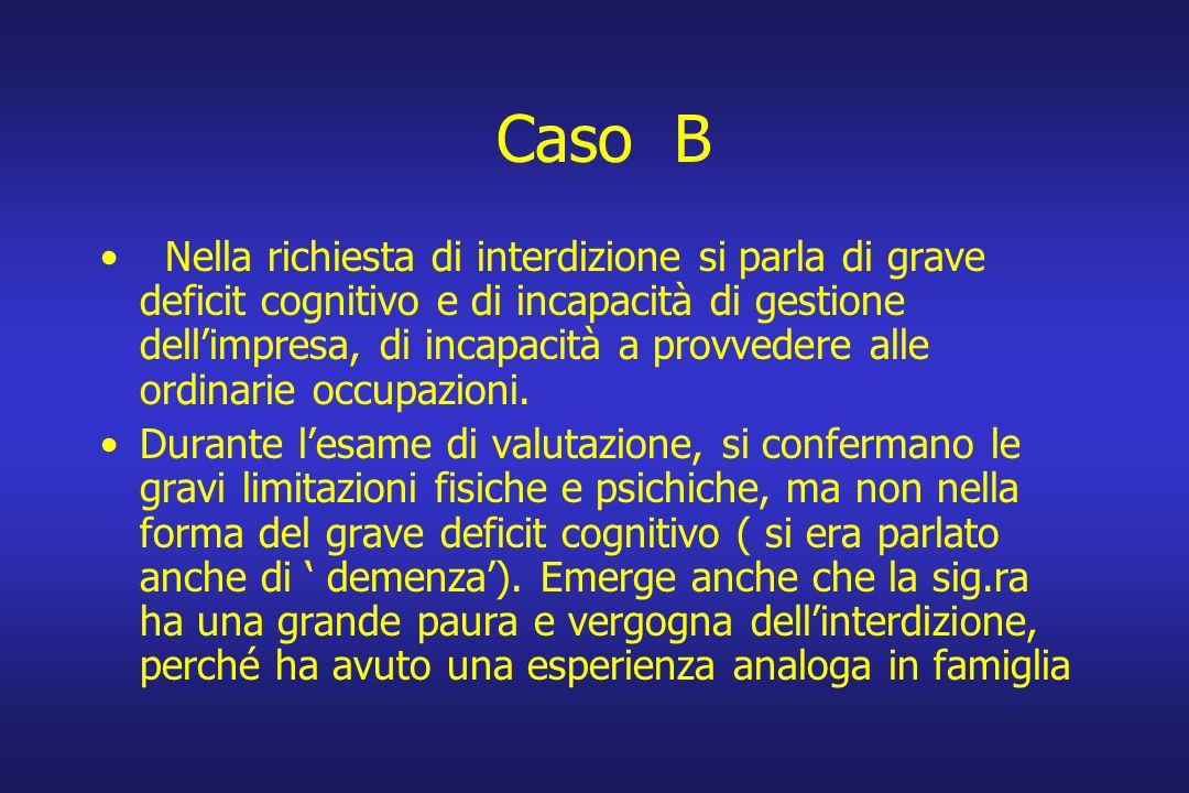 Caso B Nella richiesta di interdizione si parla di grave deficit cognitivo e di incapacità di gestione dellimpresa, di incapacità a provvedere alle or