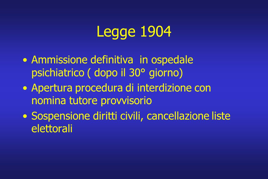 Legge 1904 Ammissione definitiva in ospedale psichiatrico ( dopo il 30° giorno) Apertura procedura di interdizione con nomina tutore provvisorio Sospe